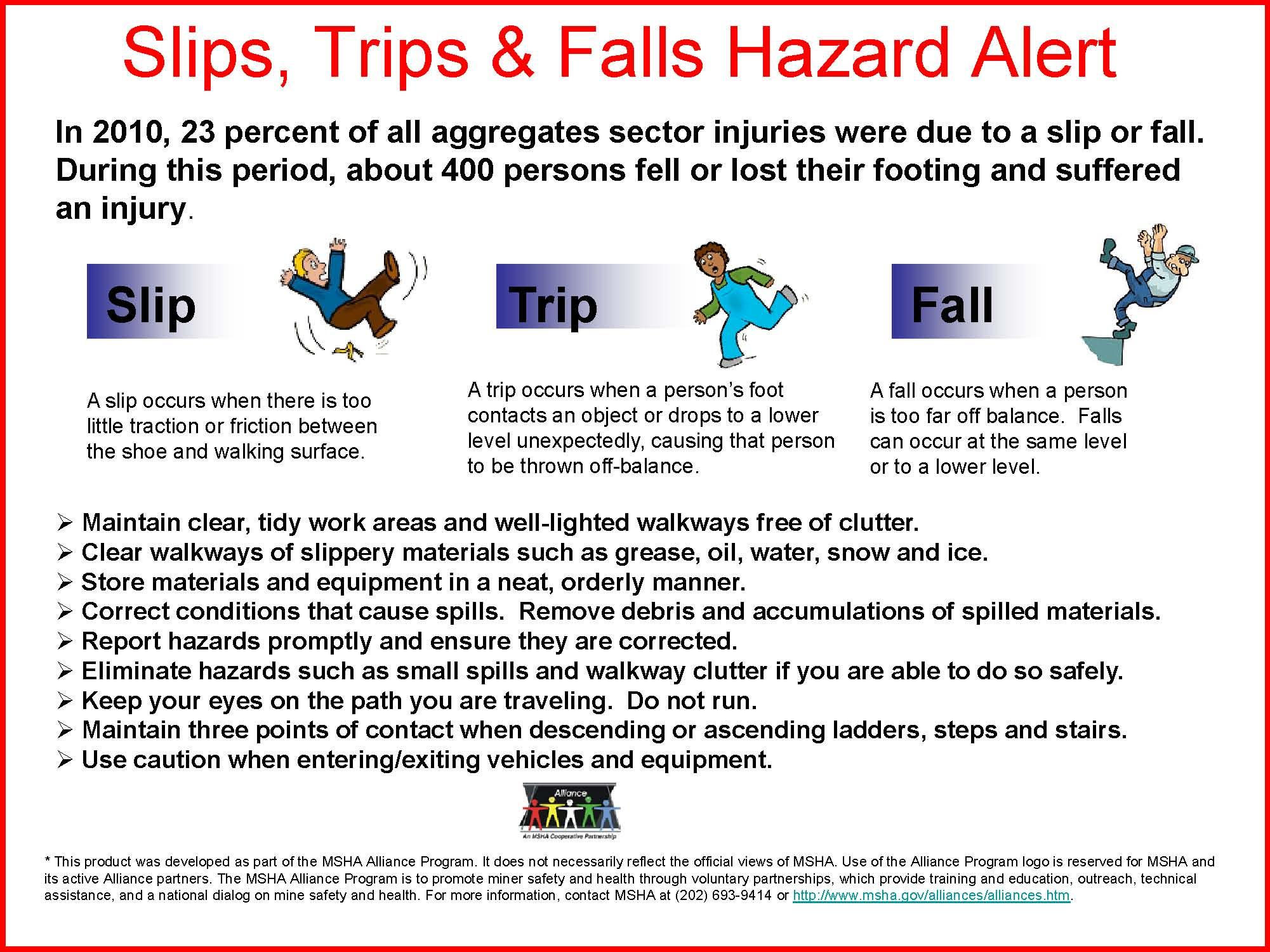 Slips Trips Falls Hazard Alert Federal Safety